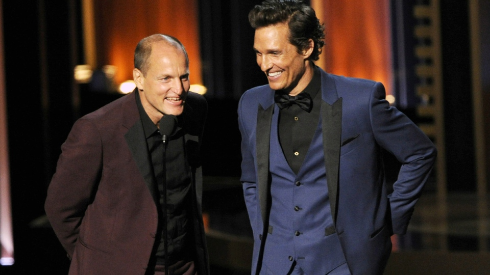 Woody Harrelson, left, and Matthew McConaughey present the award for outstanding lead actor in a miniseries or a movie on stage at the 66th Annual Primetime Emmy Awards at the Nokia Theatre L.A. Live, in Los Angeles, on Monday, Aug. 25, 2014. (AP / Invision / Chris Pizzello)
