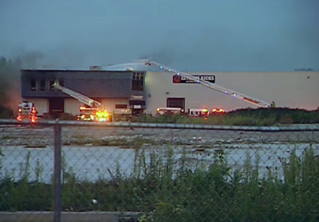 Crews battle industrial fire at abandoned factory