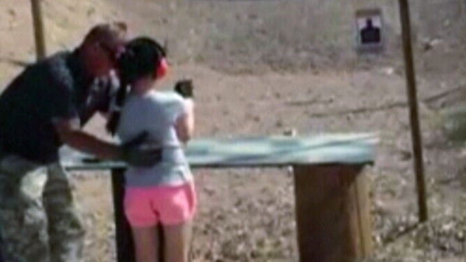 This image made from video shows the moment before a nine-year-old girl accidentally shot and killed her instructor at Last Stop outdoor shooting range in White Hills, Arizona. (Mohave County Sheriff's Office)