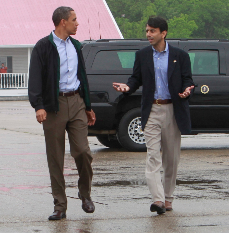 U.S. President Barack Obama is greeted by Louisiana Gov. Bobby Jindal, right, as he arrives at Louis Armstrong International New Orleans Airport en route to the Gulf Coast region where he will visit damage caused by the BP oil well spill, Sunday, May 2, 2010. (AP / Charles Dharapak)