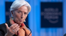 International Monetary Fund (IMF) managing director Christine Lagarde gestures during during a plenary session at the 42nd Annual Meeting of the World Economic Forum, WEF, in Davos, Switzerland, Saturday, Jan. 28, 2012. (AP Photo/keystone/Laurent Gillieron)