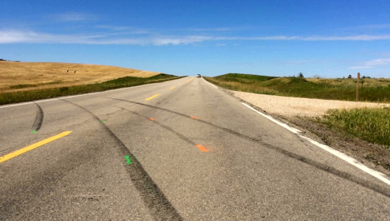 Skid marks are shown on Highway 5, about 50 kilometres east of Saskatoon, the day following a fatal crash in 2014. (File photo)