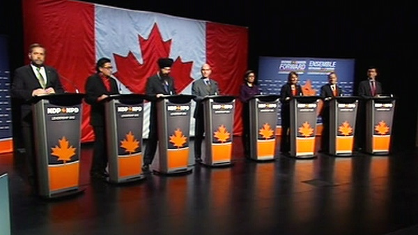 NDP leadership candidates are seen taking part in a debate in Halifax on Sunday, Jan. 29, 2012.