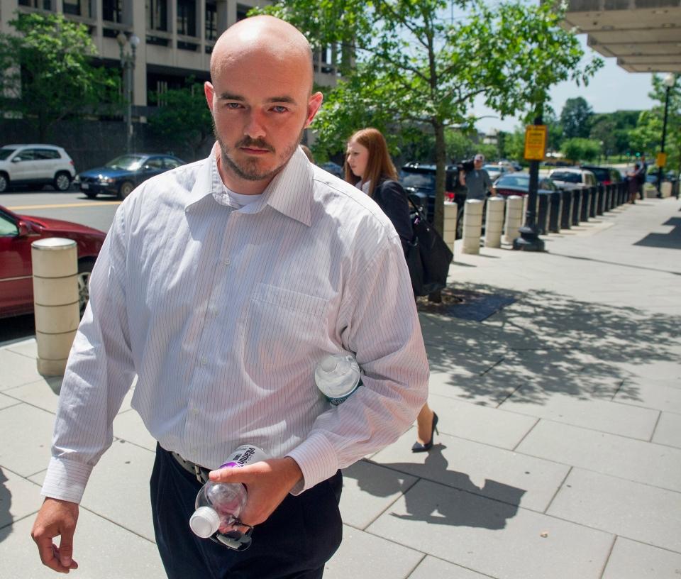 This photo shows former Blackwater Worldwide guard Nicholas Slatten leaving federal court in Washington on June 11, 2014. (AP / Cliff Owen)