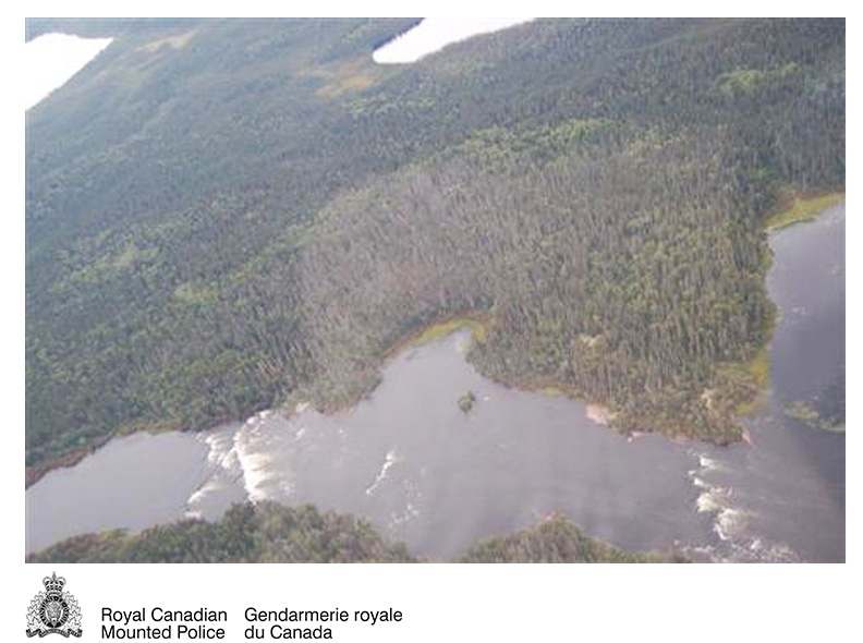 Needle Falls, Sask., is pictured in an aerial photo released by the RCMP. A 62-year-old woman survived eight days in the area after a canoeing accident claimed the life of her husband. (RCMP)