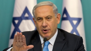 Israeli Prime Minister Benjamin Netanyahu gestures as he speaks during a press conference at the prime minister's office in Jerusalem, Wednesday, Aug. 27, 2014. (AP / Sebastian Scheiner)