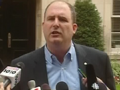 Jim Harris, Green Party of Canada campaign chair and former party leader, speaks during a press conference in Toronto on Wednesday, Sept. 3, 2008.