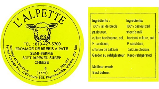 L'Alpette brand sheep cheese recalled
