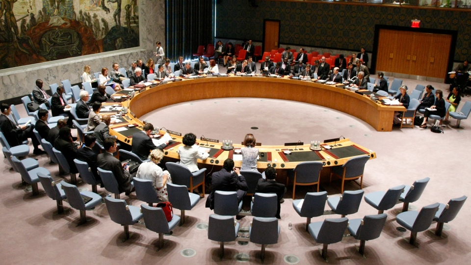 In this photo provided by the United Nations, the UN Security Council meets to discuss the United Nations' humanitarian aid operation in Syria, Thursday, Aug. 28, 2014. (AP / United Nations, Loey Felipe)