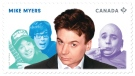 Mike Myers is pictured on this Canada Post stamp. Canada Post is recognizing five great Canadian comedians in a series of stamps featuring them and some of their most famous roles. (Canada Post)