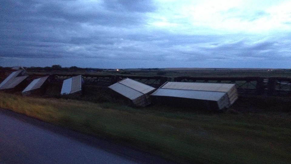 At least 33 cars went off the track in a train derailment in southwestern Saskatchewan on Thursday, Aug. 28, 2014. (Photo courtesy of Sarah Merret)
