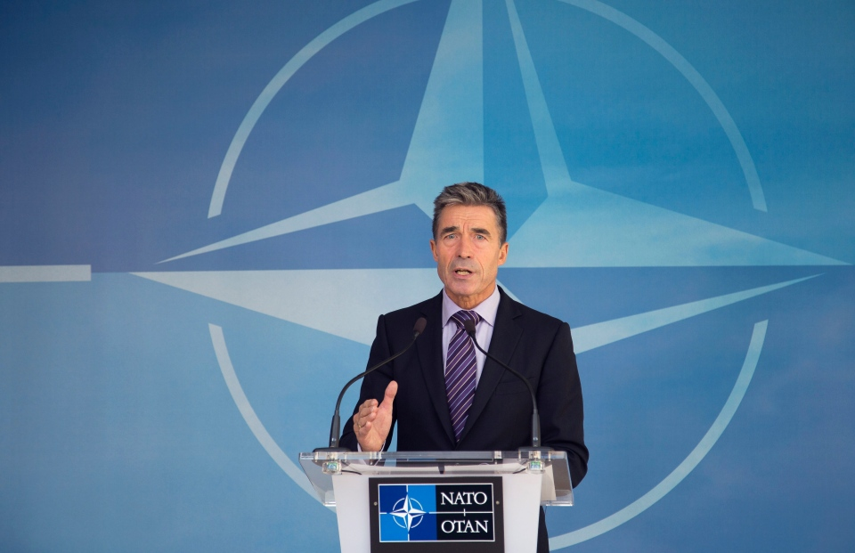 NATO Secretary General Anders Fogh Rasmussen speaks during a media conference at NATO headquarters in Brussels on Friday, Aug. 29, 2014. (AP / Olivier Matthys)