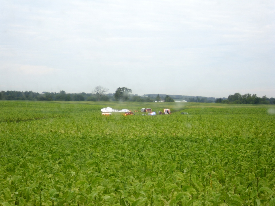 Roy Easton captured photographs of an experimental hybrid aircraft crashing in his tobacco field near the Brantford Airport on Friday, Aug. 29, 2014.