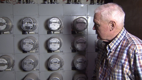 Ross Dunseith is concerned about the bank of 27 hydro meters that share a wall with his dining room. (CTV)