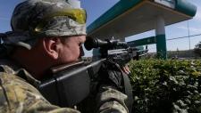Pro-Russian rebel in Starobesheve, eastern Ukraine