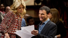 "In this Jan. 24, 2012 photo, Executive producer Michael Gelman appears on the set of ""Live! with Kelly"", with Kelly Ripa in New York. Gelman began as a freelance production assistant and became executive producer in 1987. After the departure of Regis Philbin, Gelman is ready to savor continued success for ""Live!"" He says he's signed another long-term deal. (AP Photo/Charles Sykes)"
