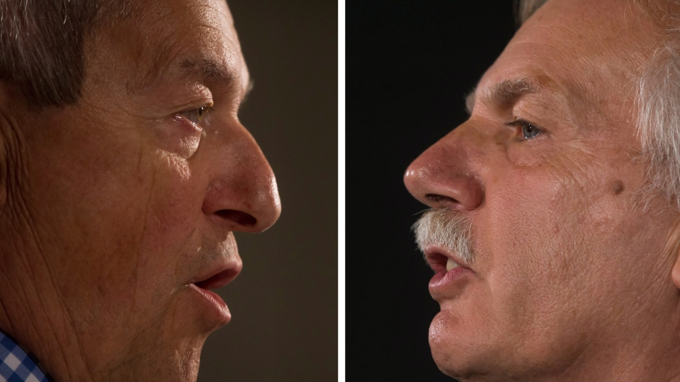 In this two-photograph panel, B.C. Education Minister Peter Fassbender, left, and B.C. Teachers' Federation president Jim Iker, right, speak about the teachers' strike during separate news conferences in Vancouver, B.C., on Sunday, Aug. 31, 2014. (Darryl Dyck / THE CANADIAN PRESS)