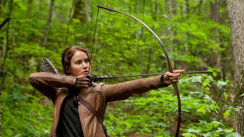 Jennifer Lawrence portrays Katniss Everdeen in a scene from 'The Hunger Games'
