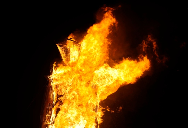 The man burns at the annual Burning Man event