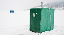This image of an ice fishing shack in the Gaspe is