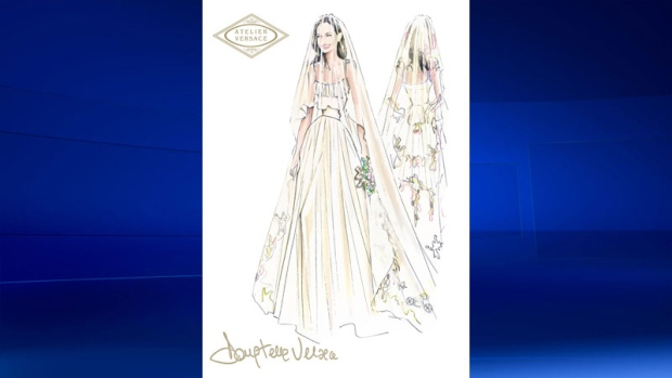 Versace sketch of Angelina Jolie's wedding dress
