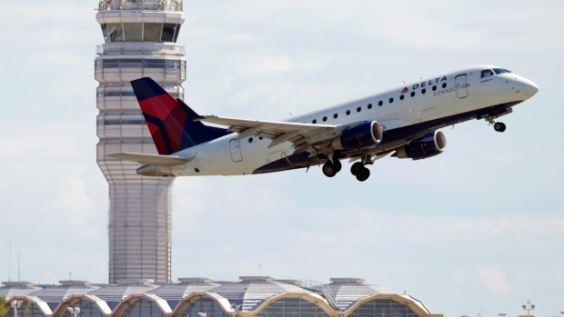 A Delta Air Lines jet takes off