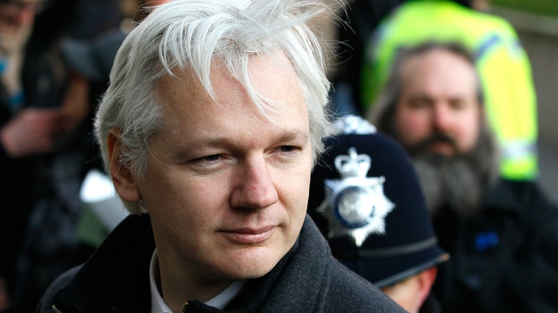 Julian Assange, the 40-year-old WikiLeaks founder, arrives at the Supreme Court in London, Wednesday, Feb. 1, 2012. (AP / Kirsty Wigglesworth)