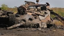Ukrainian military vehicle destroyed