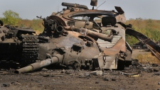 Ukrainian military vehicle destroyed