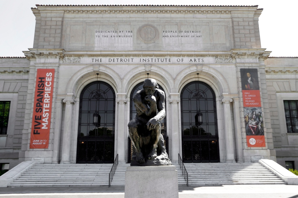 In this July 10, 2012 file photo, Auguste Rodin's sculpture 'The Thinker' is shown outside The Detroit Institute of Arts. (AP / Paul Sancya)
