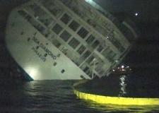 The stern of the Greek cruise ship 'Sea Diamond' listing heavily off the island of Santorini, Greece. (Alpha TV)