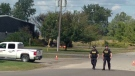 OPP guard the scene following a fatal biplane crash at the Brantford Airport on Wednesday, Sept. 3, 2014. (Nadia Stewart / CTV Kitchener)