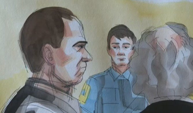Guy Turcotte is portrayed in this courthouse sketch.