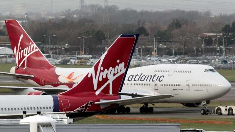 Virgin Atlantic airplanes are shown at London's Heathrow Airport in this Jan. 10, 2011 file photo. (AP / Lefteris Pitarakis)