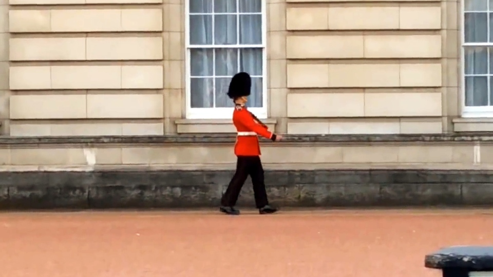 Buckingham Palace guardsman under investigation after video shows him pirouetting on duty. (Andy Richards / YouTube)