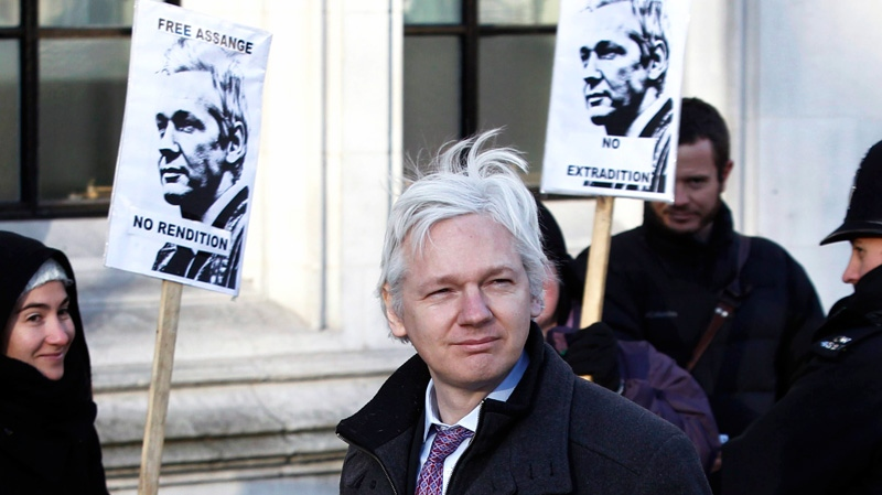 Julian Assange WikiLeaks founder arrives at the Supreme Court in London, Thursday, Feb. 2, 2012. (AP / Lefteris Pitarakis)