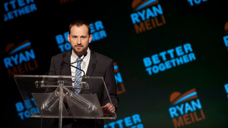 Ryan Meili speaks during the Saskatchewan NDP Leadership Convention at TCU Place in Saskatoon on Saturday, March 9, 2013. THE CANADIAN PRESS/Liam Richards