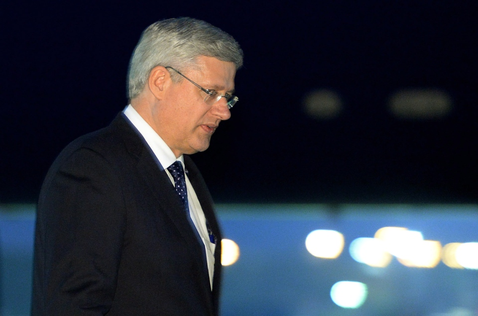 Prime Minister Stephen Harper arrives in Cardiff, Wales on Wednesday, September 3, 2014., to attend the NATO Summit. (Sean Kilpatrick / THE CANADIAN PRESS)