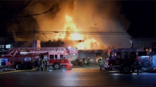 Several businesses appear to have been destroyed in a fire at a strip mall in Surrey, B.C. Feb. 2, 2012. (CTV)