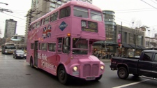 The Big Pink Sightseeing Bus donates $1 for every rider to the Canadian Breast Cancer Foundation. (CTV)