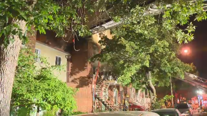 Sixty firefighters were called to the scene of a fire in the Mercier-Hochelaga Maisonneuve borough Wednesday night. No one was hurt in the blaze.