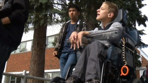 Brian Noel was left stranded at his Edmonton school hours after classes had ended.