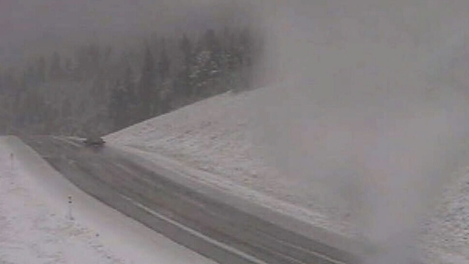 Highway 22 is covered in snow and slush on Wednesday, September 3, 2014. (Alberta Government)