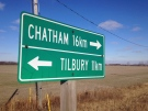 A provincial road sign for Chatham, Ont. and Tilbury, Ont. can bee seen in this undated photo. (Chris Campbell/ CTV Windsor)