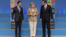 Merkel, Cameron and Rasmussen at NATO summit