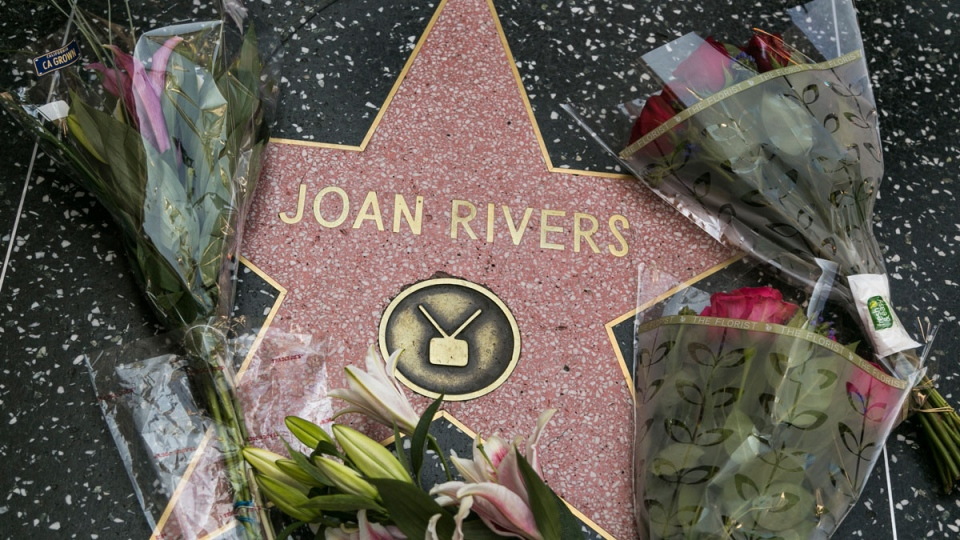 Flowers surround Joan Rivers' star on the Hollywood Walk of Fame in Los Angeles, Thursday, Sept. 4, 2014. (AP / Damian Dovarganes)