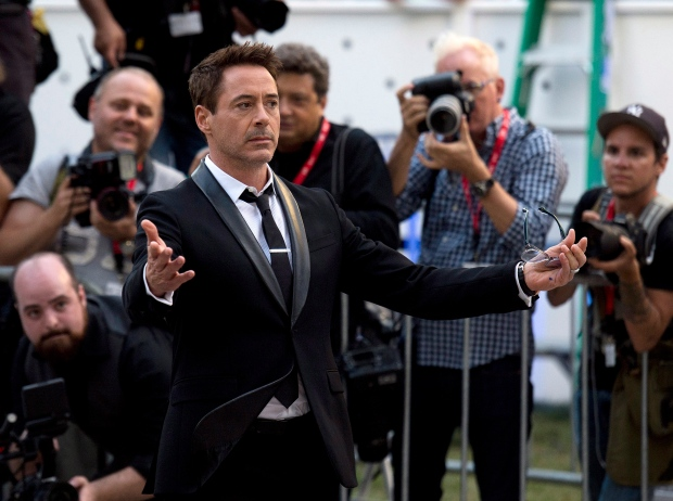 "Actor Robert Downey Jr. arrives on the red carpet for his new movie ""The Judge"" during the 2014 Toronto International Film Festival in Toronto on Thursday, Sept. 4, 2014. (Nathan Denette / THE CANADIAN PRESS)"