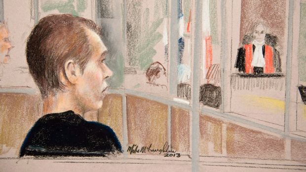 Courtroom sketch of Luka Rocco Magnotta