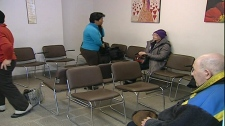 A half-empty waiting room is a common sight at the Mont Carmel medical clinic (Feb. 3, 2012)
