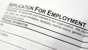 This April 22, 2014, photo shows an employment application form. (AP / Mike Groll)